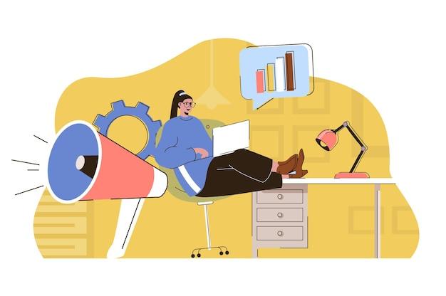 Koncepcja strategii marketingowej kobieta marketingowiec planuje pracę sprawia, że kampania reklamowa