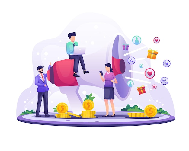 Koncepcja strategii marketingowej, krzyczeć biznesmena na gigantyczny megafon do promocji