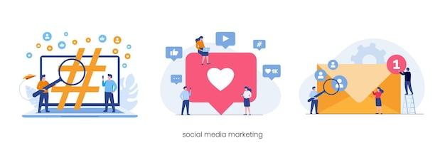 Koncepcja strategii marketingowej w mediach społecznościowych, takich jak e-mail, tagi. płaska ilustracja wektorowa