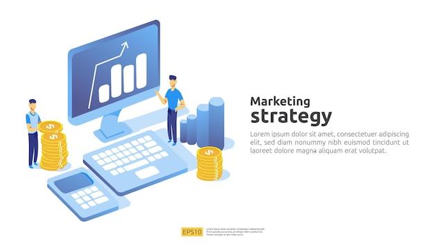 Koncepcja strategii marketingu cyfrowego ze stołem, obiekt graficzny na ekranie komputera. rozwój biznesu i zwrot z inwestycji roi. wykres wzrost zysku. ilustracja wektorowa płaski baner