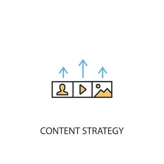 Koncepcja strategii treści 2 kolorowa ikona linii. prosta ilustracja elementu żółty i niebieski. koncepcji strategii treści zarys symbolu projektu