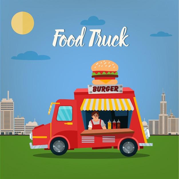 Koncepcja street food z burger food truck i sprzedawcą w megapolis