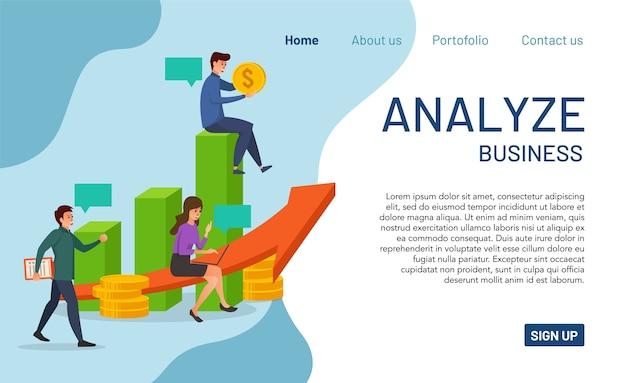 Koncepcja strony docelowej analizy biznesu. nowoczesna analiza biznesu pod kątem strony internetowej i aplikacji mobilnej. łatwe do odczytania i edycji