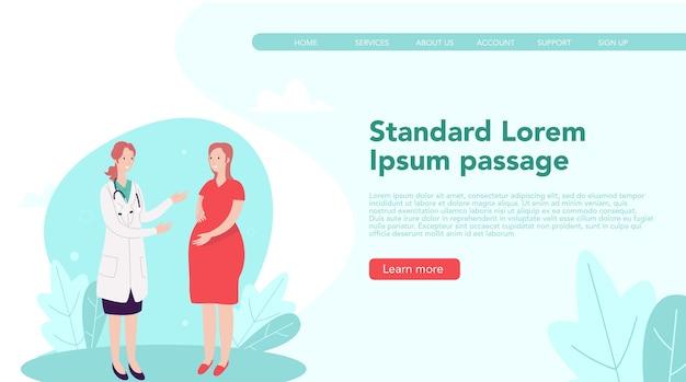 Koncepcja strony docelowej dla pediatrów. ilustracja lekarza z matką w ciąży na stronie internetowej