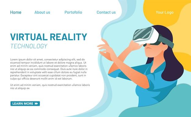 Koncepcja strony docelowej dla wirtualnej rzeczywistości. idealny do strony internetowej, aplikacji mobilnej itp