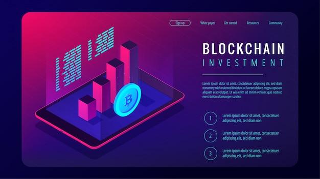 Koncepcja strony docelowej inwestycji izometryczny blockchain.