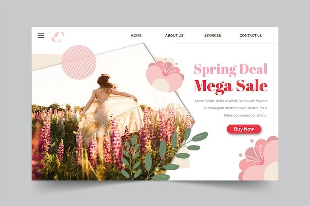 Koncepcja strony docelowej kolekcji sprzedaż wiosenna