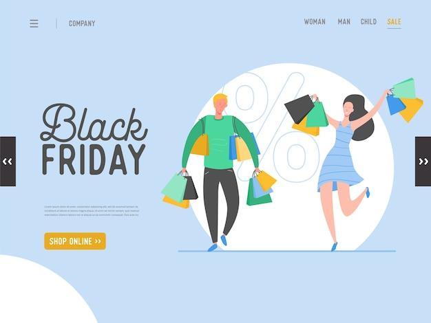 Koncepcja strony docelowej na temat zakupów, sprzedaż online w czarny piątek. do projektowania witryn mobilnych i stron internetowych. płaskie postacie mężczyzny i kobiety posiadających zakupy
