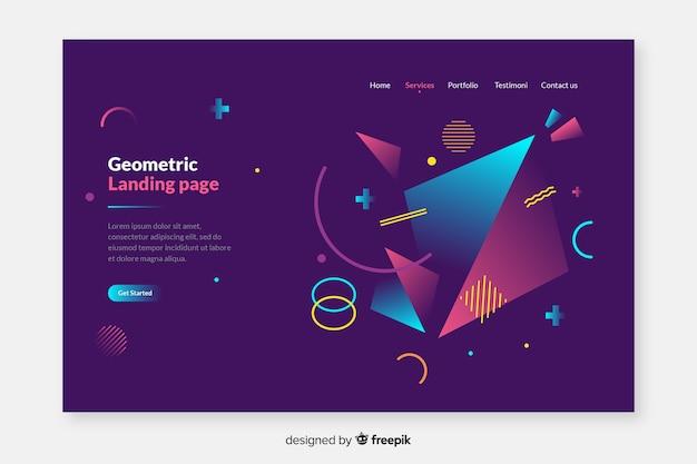 Koncepcja strony docelowej o geometrycznych kształtach