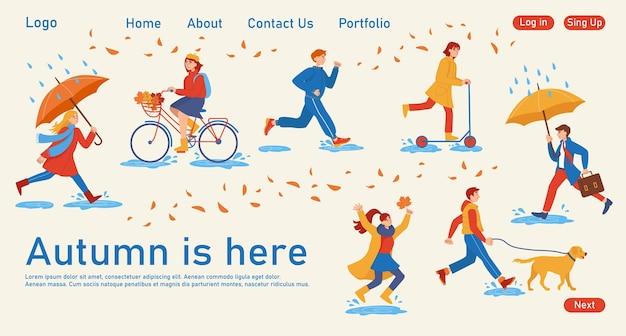 Koncepcja strony docelowej o tematyce jesiennej. ilustracje ludzi w płaskim stylu, którzy chodzą pod parasolami, wyprowadzają psy, jeżdżą na rowerach i skuterach. szablon do projektowania stron internetowych.