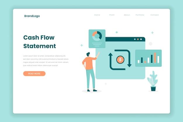 Koncepcja strony docelowej rachunku przepływów pieniężnych. ilustracja do stron internetowych, stron docelowych, aplikacji mobilnych, plakatów i banerów.