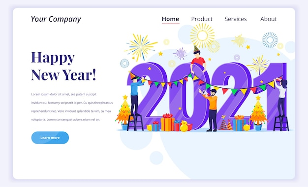 Koncepcja strony docelowej szczęśliwego nowego roku.