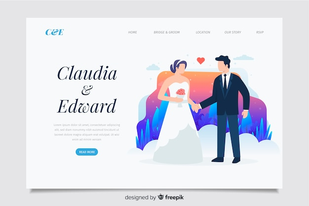 Koncepcja strony docelowej tematu ślubu