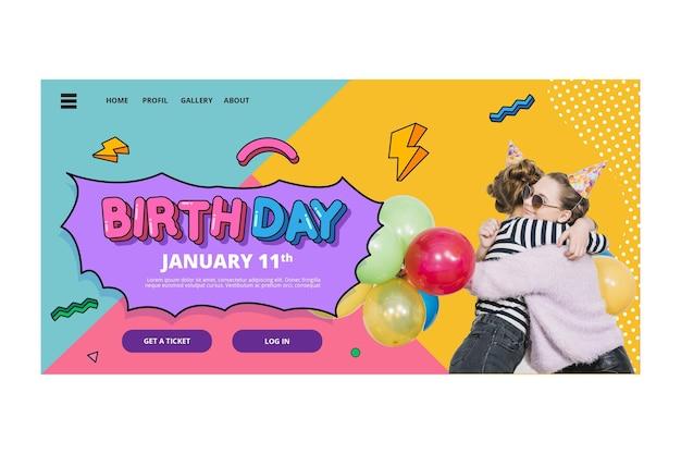 Koncepcja strony docelowej urodzin