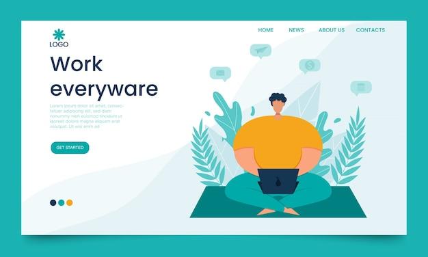 Koncepcja strony internetowej do pracy zdalnej. siedząc w parku mężczyzna pracuje z laptopem.
