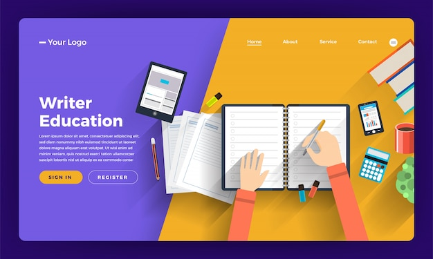 Koncepcja strony internetowej kurs online o rozmyślaniu i kreatywnym pisarzu. ilustracja.