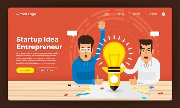 Koncepcja strony internetowej pomysł na biznes obecny przez przedsiębiorcę. ilustracja.