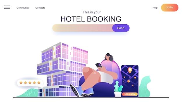 Koncepcja strony internetowej rezerwacji hotelu dla strony docelowej