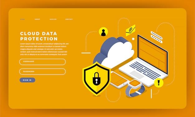 Koncepcja strony internetowej technologia przetwarzania w chmurze użytkownicy konfiguracji sieci izometrycznej. ilustracja.