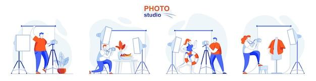 Koncepcja studia fotograficznego fotograf robi zdjęcia z modelowymi ubraniami lub jedzeniem