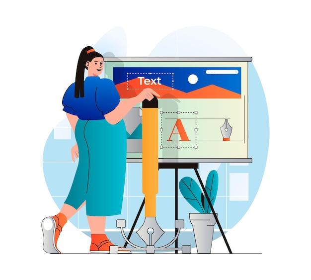 Koncepcja studia projektowego w nowoczesnej płaskiej konstrukcji kobieta projektantka tworzy elementy graficzne