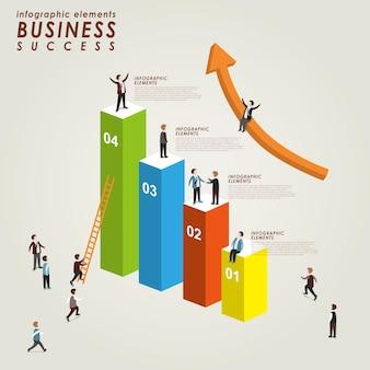 Koncepcja sukcesu biznesowego z wykresem wzrostu w 3d izometrycznym płaskim stylu
