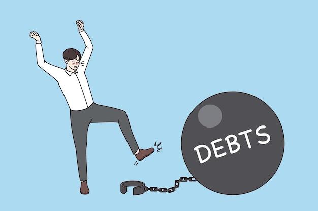 Koncepcja sukcesu finansowego i bogactwa. szczęśliwi biznesmeni stojący za pomocą klucza, aby odblokować łańcuch z ilustracji wektorowych bomby zegarowej zadłużenia