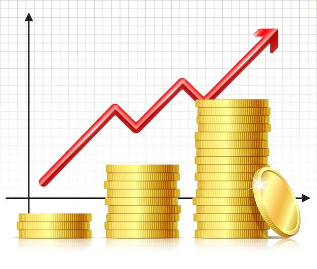 Koncepcja sukcesu finansowego - wykres z monetami. rosnących monet stosowych i rosnącej strzałki wykresu