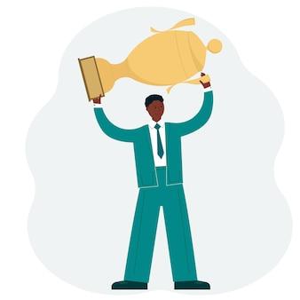 Koncepcja sukcesu firmy. mężczyzna w garniturze nad głową trzymający złoty puchar zwycięzcy. wektor