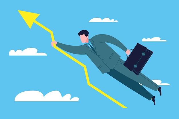 Koncepcja sukcesu firmy. szczęśliwy biznesmen wzbija się w chmury i trafia na szczyt trzymając strzałkę wykresu sprzedaży jako symbol wzrostu zysków firmy, akcji lub inwestycji.