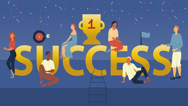 Koncepcja sukcesu. młodzi ludzie mający warsztat dla nowej marki, aby osiągnąć sukces biznesowy. mężczyźni i kobiety siedzą na dużych literach