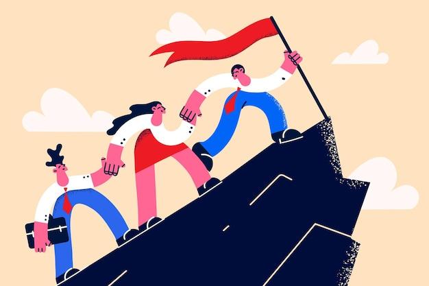 Koncepcja sukcesu w biznesie, pracy zespołowej i osiągnięcia. młody biznesmen wspina się po drabinie, aby zdobyć złote pierwsze trofeum, podczas gdy koledzy wspierają go z ilustracji wektorowych na dole