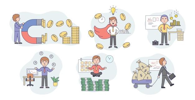 Koncepcja sukcesu w biznesie, przyciągają pieniądze. zestaw szczęśliwych młodych biznesmenów, przyciągając pieniądze na różne sposoby. odnoszący sukcesy męski charakter osiąga zyski. płaski styl kreskówki.