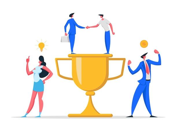 Koncepcja sukcesu zespołu biznesowego z postaciami i ilustracją złotej nagrody
