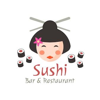 Koncepcja sushi, szablon logo na białym tle gejsza z przykładowym tekstem