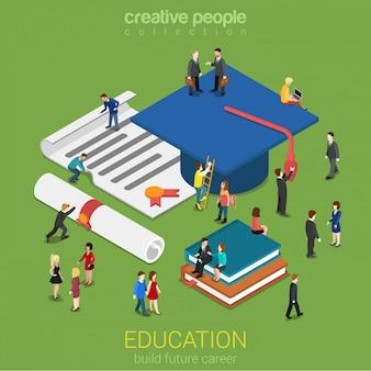 Koncepcja świadectwa ukończenia edukacji edukacyjnej małe mikro osoby z dużą czapką absolwenta książki dyplomy płaskie izometryczne