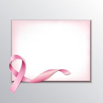 Koncepcja świadomości raka piersi z pustym papierem i realistyczną różową wstążką.