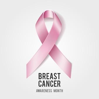Koncepcja świadomości raka piersi z tekstem i realistyczną różową wstążką.