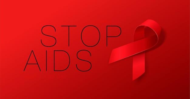 Koncepcja światowego dnia aids stop aids świadomość realistyczny plakat kaligrafii z czerwoną wstążką