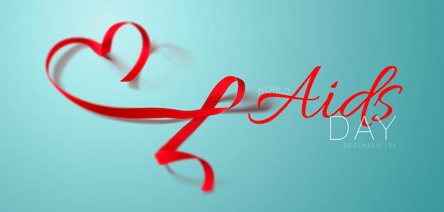 Koncepcja światowego dnia aids świadomość aids realistyczny plakat kaligrafii z czerwoną wstążką