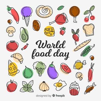 Koncepcja światowego dnia jedzenia w płaskiej konstrukcji
