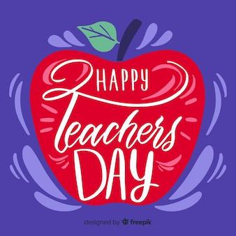 Koncepcja światowego dnia nauczycieli z napisem