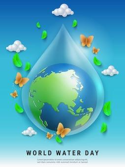 Koncepcja światowego dnia wody z kroplą wody wykonaną przez światową kulę ziemską