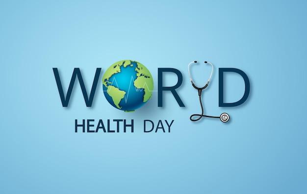 Koncepcja światowego Dnia Zdrowia, Papierowa Grafika I Cyfrowy Styl Rękodzieła. Premium Wektorów