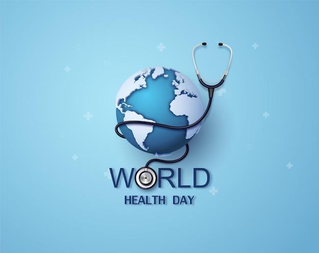 Koncepcja światowego dnia zdrowia, papierowa grafika i cyfrowy styl rękodzieła.