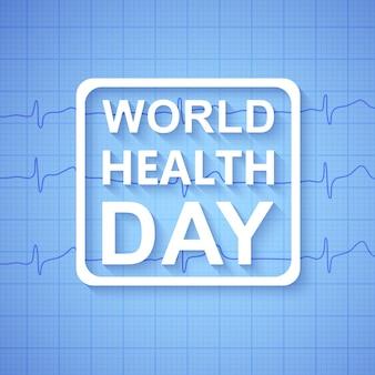 Koncepcja światowego dnia zdrowia z niebieskim kolorowym tłem medycznym grafika pulsu serca