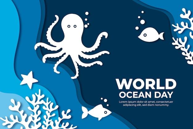 Koncepcja światowy dzień oceanów w stylu papieru