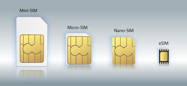 Koncepcja symbol ikona wbudowanej karty sim esim. nowa technologia komórkowej komunikacji komórkowej. zestaw kart sim do urządzeń mobilnych z chipem. ilustracja