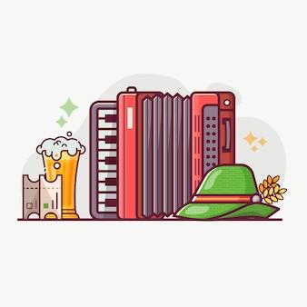 Koncepcja symboli i elementów festiwalu piwa oktoberfest.