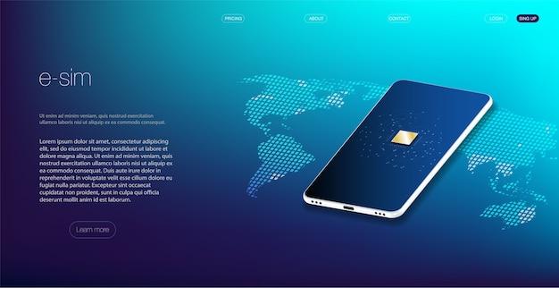 Koncepcja symbolu ikony wbudowanej karty sim esim. nowa technologia komunikacji mobilnej. futurystyczna projekcja karty esim.